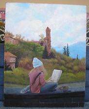 EUROPEAN LANDSCAPE CASTLE BLONDE GIRL ARTIST NATURE TREES GARDEN OIL PAINTING