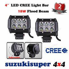 Pair CREE LED Light Bar 4 Inch 18W Spot Beam Work Lamp Offroad 4WD