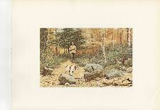 "1972 Vintage HUNTING ""AUTUMN GROUSE, 1895"" LONG GUN & DOG Color Lithograph"
