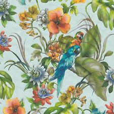 Perroquets sur papier peint bleu ciel effet aquarelle Lavable Vinyle Contour 30015-2
