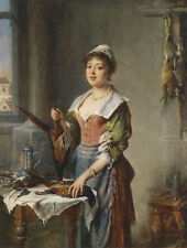 Hand painted Oil painting female portrait young woman Dead pheasant kitchen