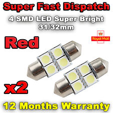 2x 31mm 32mm NUMBER PLATE INTERIOR LIGHT FESTOON BULB 4 SMD LED - Red