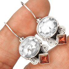 White Topaz & Garnet 925 Sterling Silver Earrings Jewelry SE128195