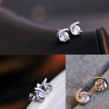 Girls Elegant Sale Silver Jewelry Set Zircon Crescent Moon Korea Earrings With