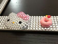 HELLO KITTY Pink Silver Diamond Bling Rhinestone Metal Car License Plate Frame