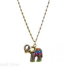 Anne Koplik Lucky Elephant Pendant Necklace Multi-Colored Crystals ~Made in USA~