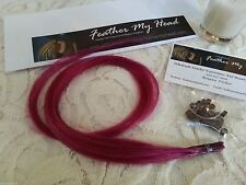 (5) Fuchsia Pink Remy Human Hair Extensions Stick I Tip DIY Kit W/Beads  20""