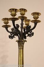 Tall antique French Empire GILT BRONZE CANDELABRA Napoleon candlestick 70cm high