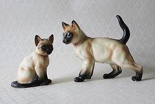 Vintage Siamese Cat Figurines Numbered Blue Eyes Set of 2