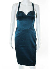 LAUNDRY BY SHELLI SEGAL Teal Crossback Strap Corset Pencil Dress Sz 0