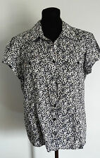 Michael Kors Womens Shirt Size Large Floral Short Sleeve Black White Brown Top