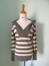 Joie 100% Cashmere Long Sweater Hoodie Soft Gray Striped Small