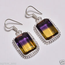 Elegant faceted ametrine designer earrings pair .925 silver free shipping gift