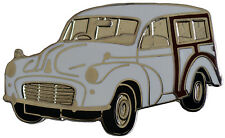Morris Minor Traveller car cut out lapel pin - White
