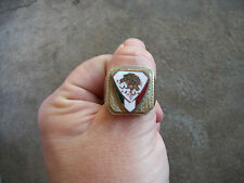 vintage MEXICAN STATE SEAL bird flag crest Mexican biker ring 10.5