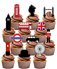 London Union Jack 12 Edible Cup Cake Toppers Queens 90th Birthday Decorations