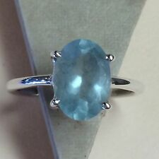 Natural 2ct Aquamarine 925 Solid Sterling Silver Solitaire Ring sz 7.75