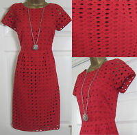 NEW EX WHITE STUFF LADIES RED BRODERIE ANGLAISE TEA SHIFT DRESS TUNIC SZ 8-18