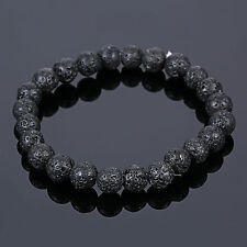 Men's Lava Stone Rock Beaded Stretch Yoga Gemstone Mala Bracelet 8mm Beads