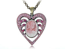 Breathtaking Rose Heart Cameo Lady Necklace Pendant