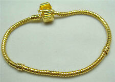 1pcs Snake Chain 20cm P gold Plated Charm Bracelets Fit European Beads c4g