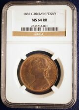1887 Great Britain UK 1 Penny Bronze Coin NGC MS64RB BU None Graded Higher