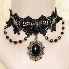 Choker Schwarz Spitze Gothic Collier Kragen Halsband Barock Blumen Victorian S54