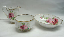 ROYAL ALBERT CHINA - AMERICAN BEAUTY - SUGAR BOWL, CREAMER, & SWEET MEAT DISH