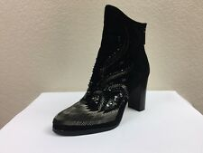 $398 Donald J Pliner Quiva Women Black OILY SUEDE Ankle Boot US 8  Original BOX