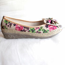Shose Cotton With Wedge Heels and Front Opening for Casual Size 6