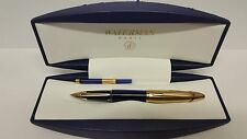 WATERMAN EDSON SAPPHIRE BLUE FOUNTAIN PEN SOLID 18CT GOLD TRIM BOXED UNUSED
