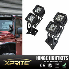 4x 20W CREE Square Spot LED Work Light With Mount Bracket Kit For Jeep Wrangler