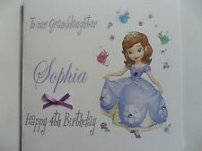 HANDMADE PERSONALISED DISNEY PRINCESS SOPHIA THE 1ST BIRTHDAY CARD ANY NAME,AGE