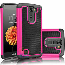 Slim Impact Protective Rugged Hybrid Rubber Hard Case Cover For LG Tribute 5 K7