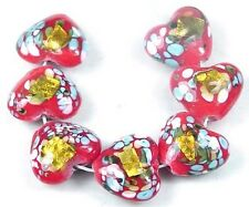 Lampwork Glass Gold Foil Red Heart Beads Valentine