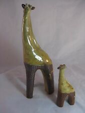 "Ceramic Giraffe Figurines Set of 2 Mother and Baby Unique Design!! 12"" and 6"""
