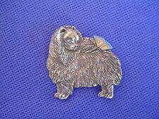 Pomeranian with Butterfly Pin #66A pewter toy dog jewelry by Cindy A. Conter