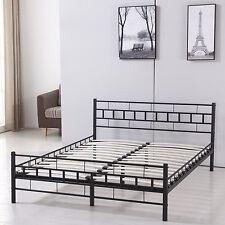 Full Wood Slat Bed Frame Platform Headboard Home Bedroom Furniture New