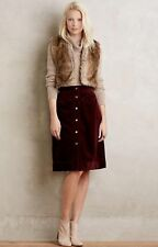 Anthropologie HOLDING HORSES Button-Front Cord Skirt Mini A-Line Pockets Wine 0