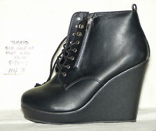 "size 12 wide Torrid Black Lace-up Platform 5-1/8"" wedge heel bootie - 114d"