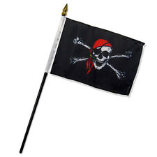"""Wholesale Lot of 12 Jolly Roger Pirate Red Bandana 4""""x6"""" Desk Table Stick Flag"""