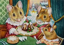 ACEO Limited Edition Print Dickens Christmas Mice No. 5 Plum Pudding J. Weiner