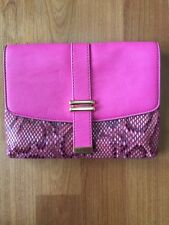 Ann Taylor Faux Python Snakeskin Hot Pink Clutch Wallet