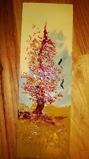 "Morris Katz Original Oil Painting 4"" x 12"" Signed 1983 ""AUTUMN TREE & BIRDS"""