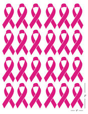 (24) Pink Awareness Ribbon Breast Cancer Bow Decal Sticker Vinyl Helmet 2""