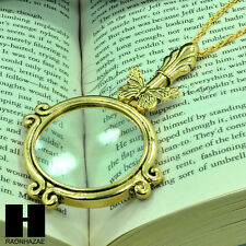 "Gold 5x Magnifying Glass Antique Butterfly Pendant 31"" Chain Necklace SJ022G"