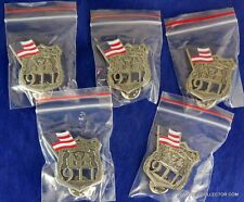 LOT OF FIVE NYPD 9-11 POLICE OFFICER MINI BADGE PINS