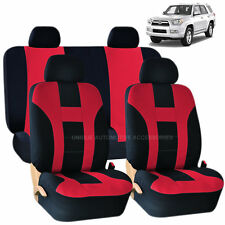 RED & BLACK DOUBLE STITCH SEAT COVERS 8PC SET for TOYOTA CAMRY TACOMA