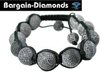 shamballa disco ball 12 mm snakeskin agate beads black silk macrame bracelet