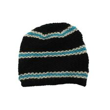 French Connection Black Blue Striped Wool Slouchy Beanie Hat Unisex One Size NEW